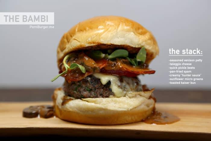Delicious, pornographic image of a venison hamburger