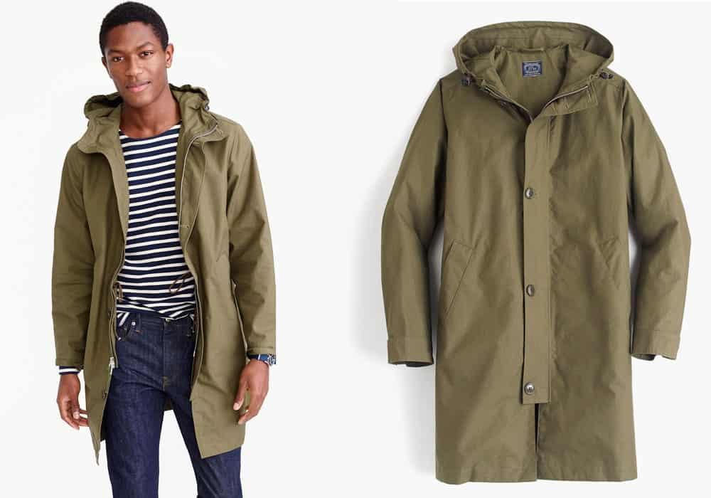A long green rain jacket