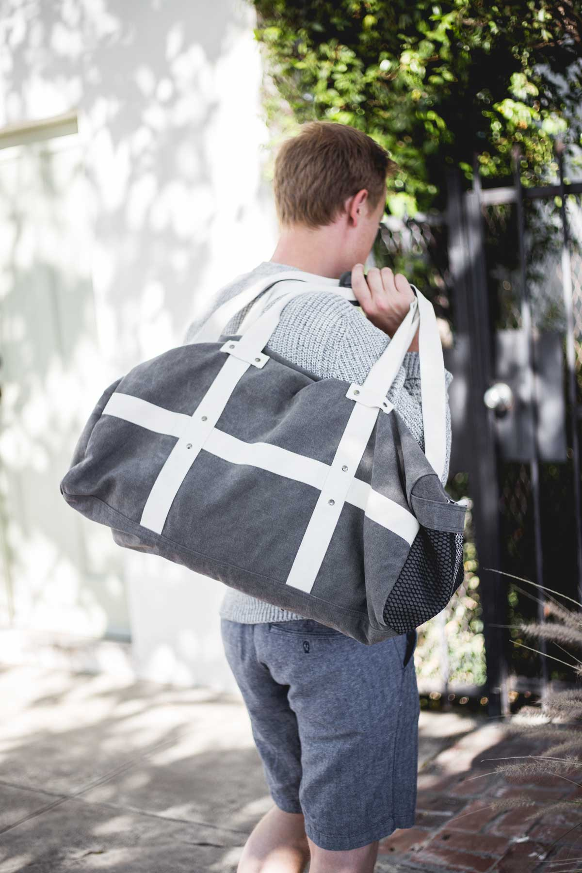 men gray duffel canvas weekender
