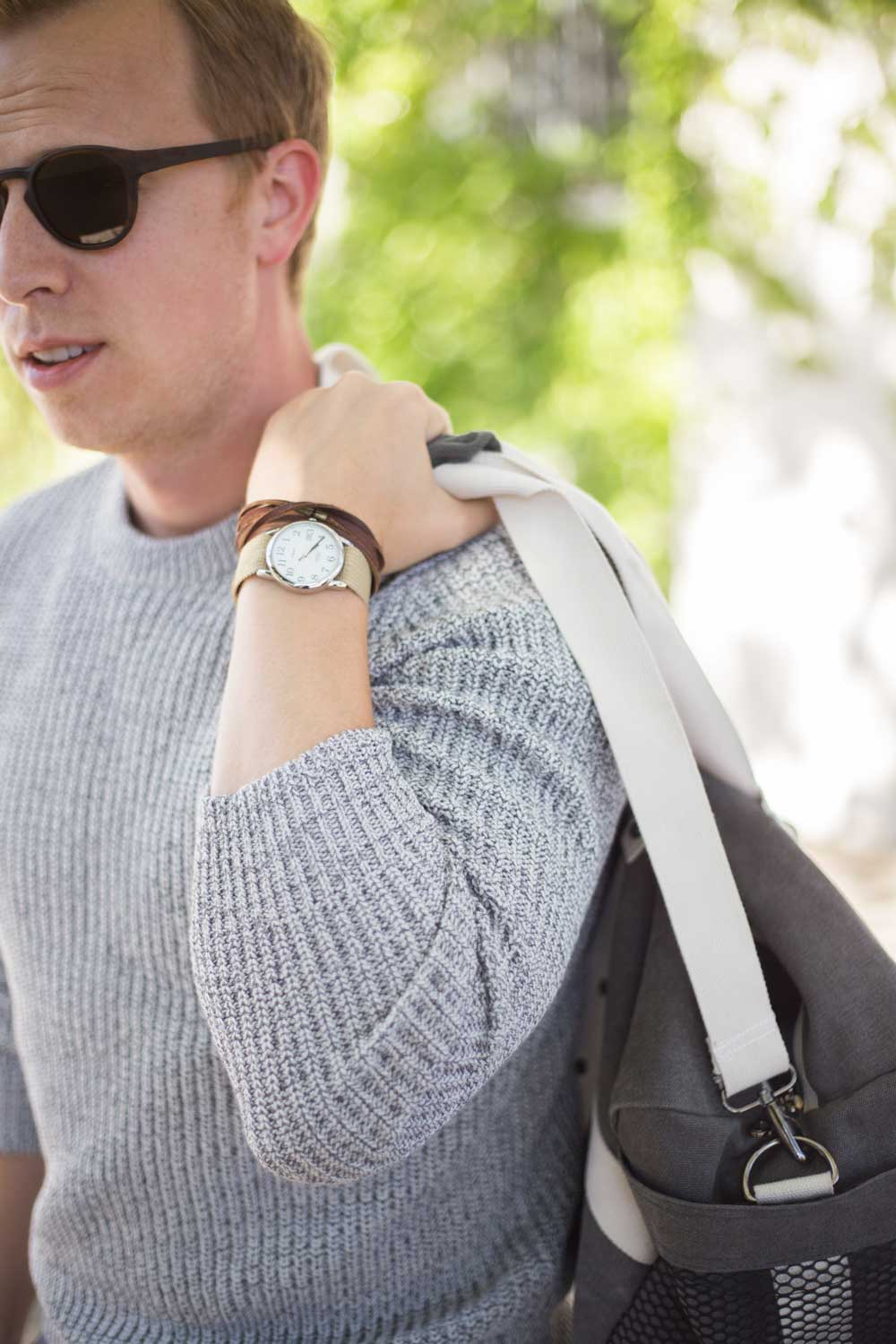 men gray sweater khaki watch duffel