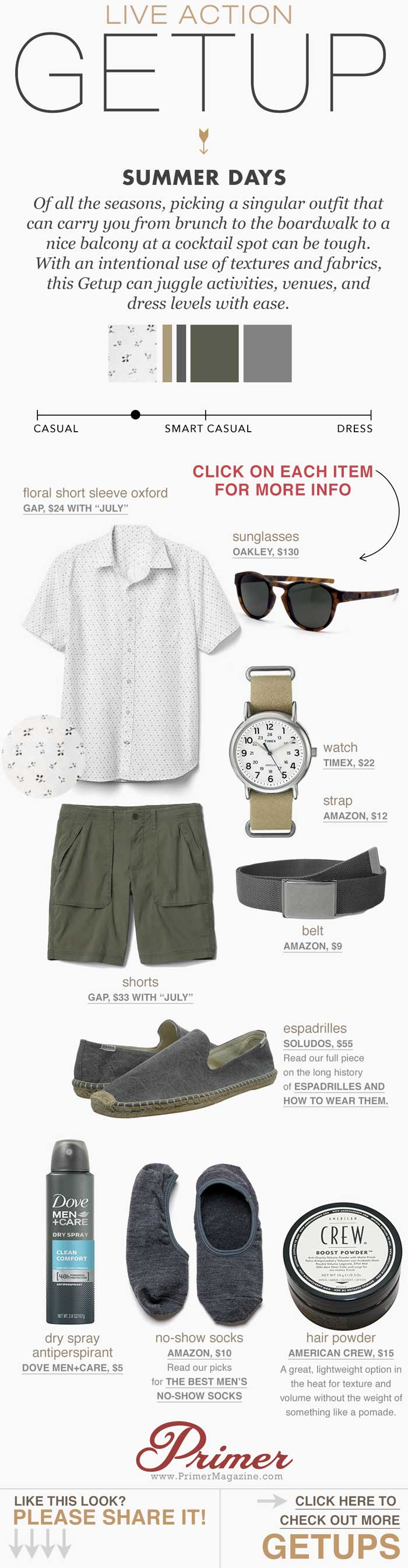Men summer shorts outfit inspiration floral short sleeve oxford green hiking shorts gray espadrilles - The Getup by Primer