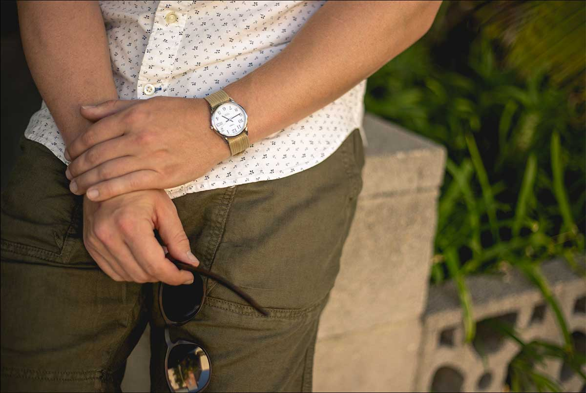 timex weekender nato khaki, olive shorts, floral oxford shirt - men fashion