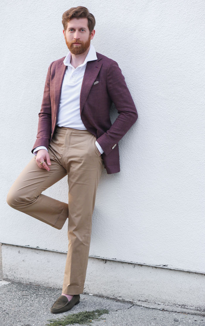 polo with blazer chinos loafers - tanner guzy
