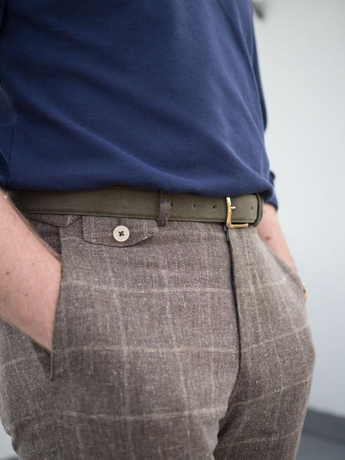 men green suede belt