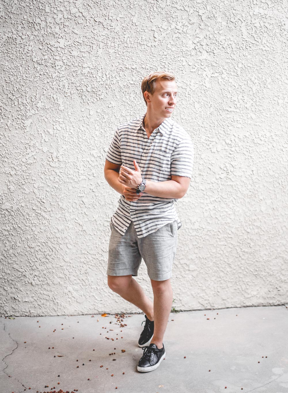 black sneakers with gray shorts primer magazine the getup