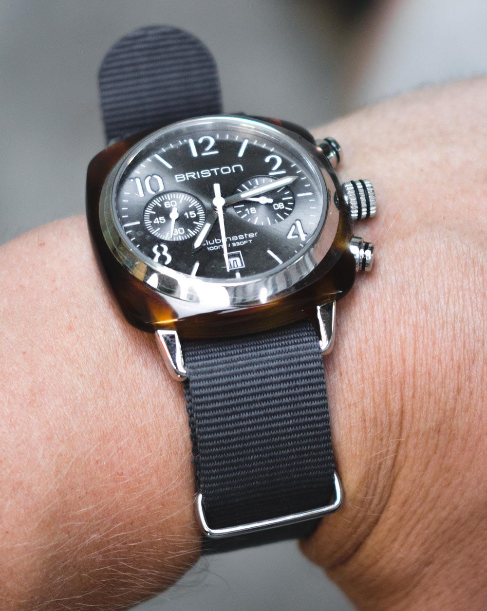 briston club master watch nato strap tortoiseshell watch