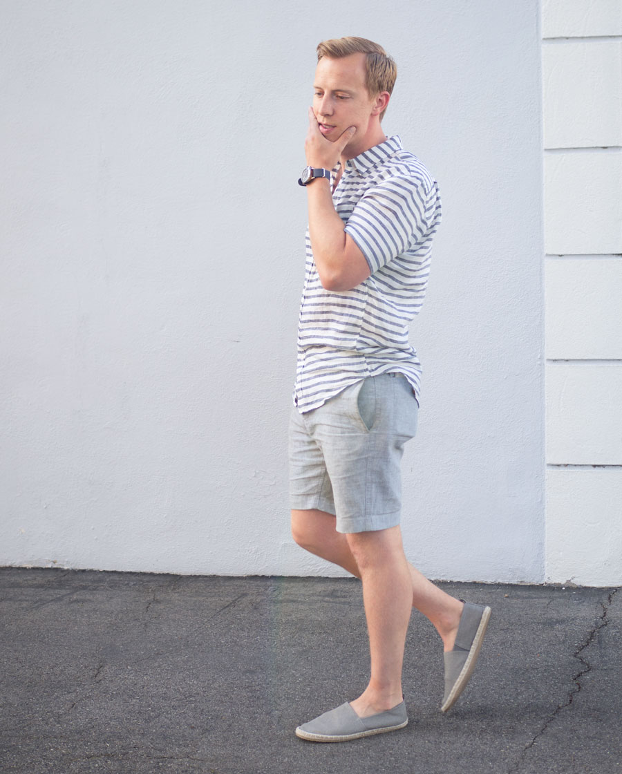 Linen shirt and shorts espadrilles - men summer style outfit ideas