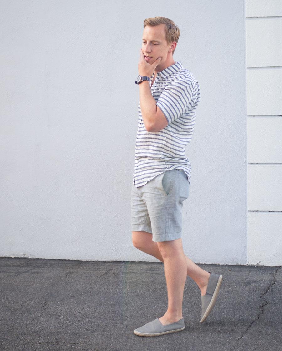 Linen shirt and shorts espadrilles - men summer style outfit ideas