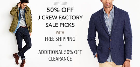 50% Off J.Crew Factory Sale Picks with Free Shipping + 50% Off Clearance