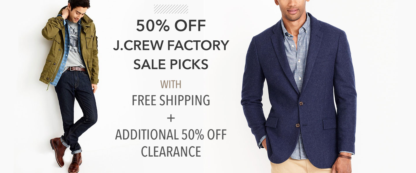 50% Off J.Crew Factory Sale Picks with Free Shipping + 50% Off Clearance: Today Only