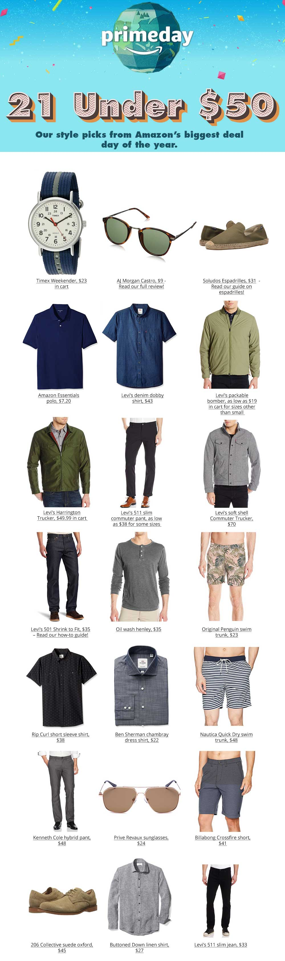 prime day men's fashion deals