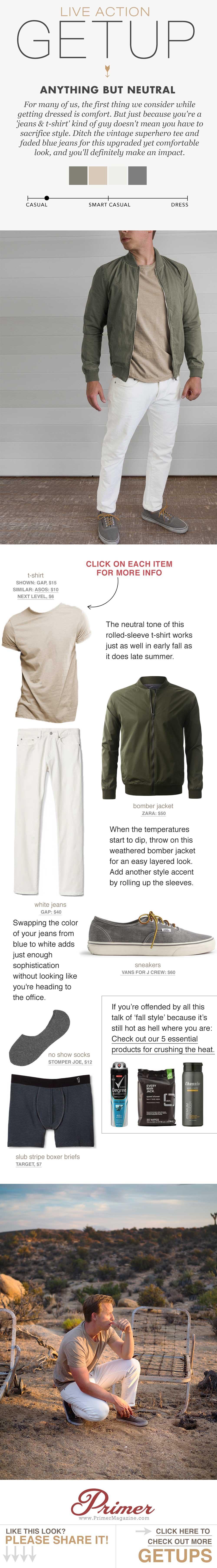 mens fashion inspiration white jeans tan tshirt green bomber jacket