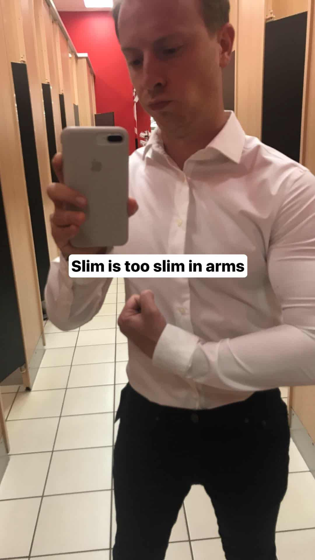 Man wearing tight white shirt