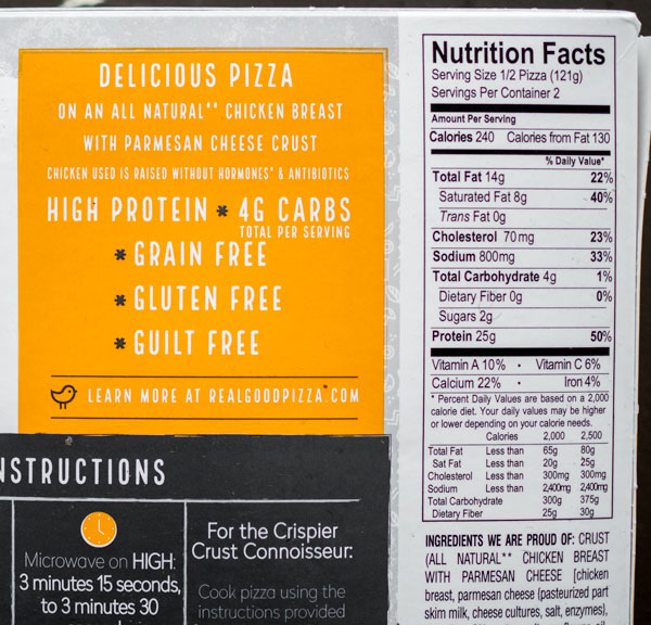 this frozen pizza only has 8g carbs because the crust is made out of chicken   50 grams protein