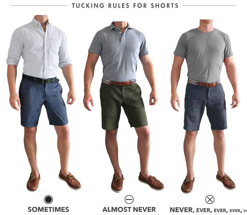 Tucking in shirt with shorts