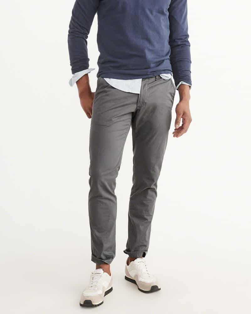 Slim gray chino pants