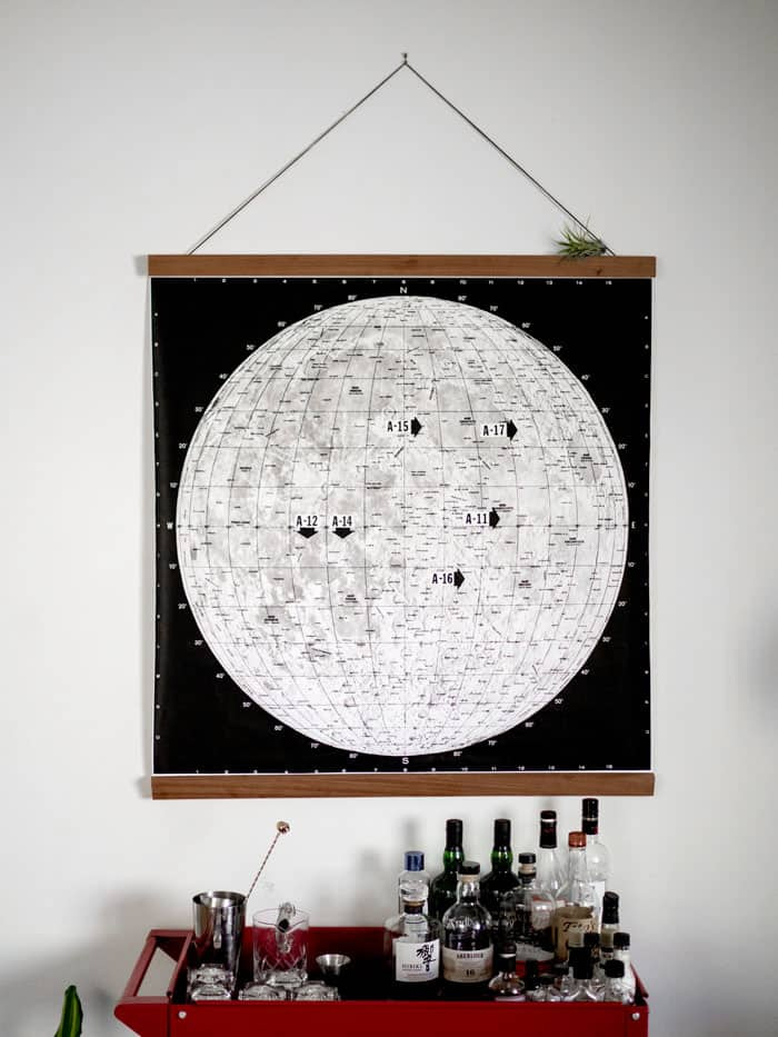 moon landing map and cheap frame diy