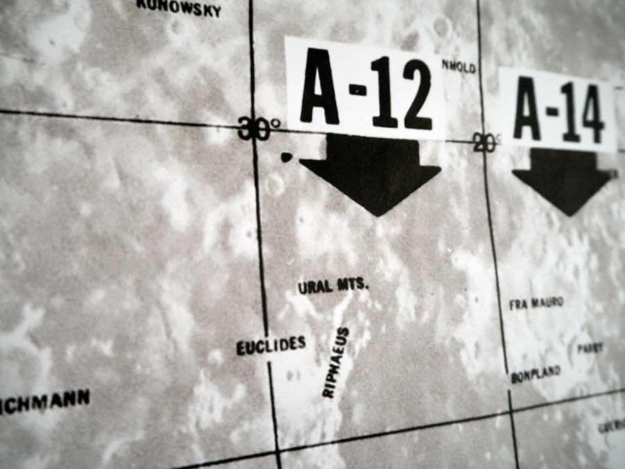 close up lunar landing map