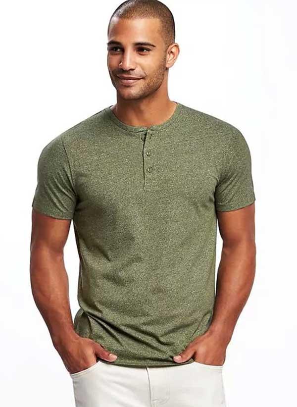 Green henley shirt