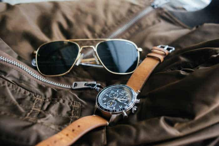 Timex watch with aviator sunglasses