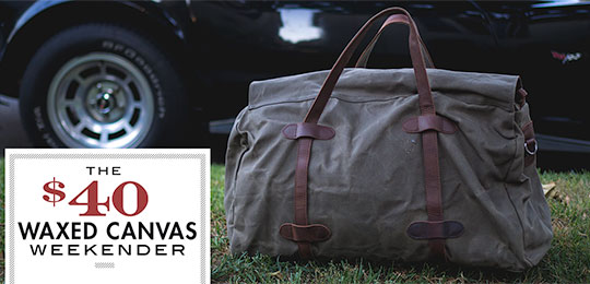 The $40 Waxed Canvas and Leather Weekender Duffel Bag