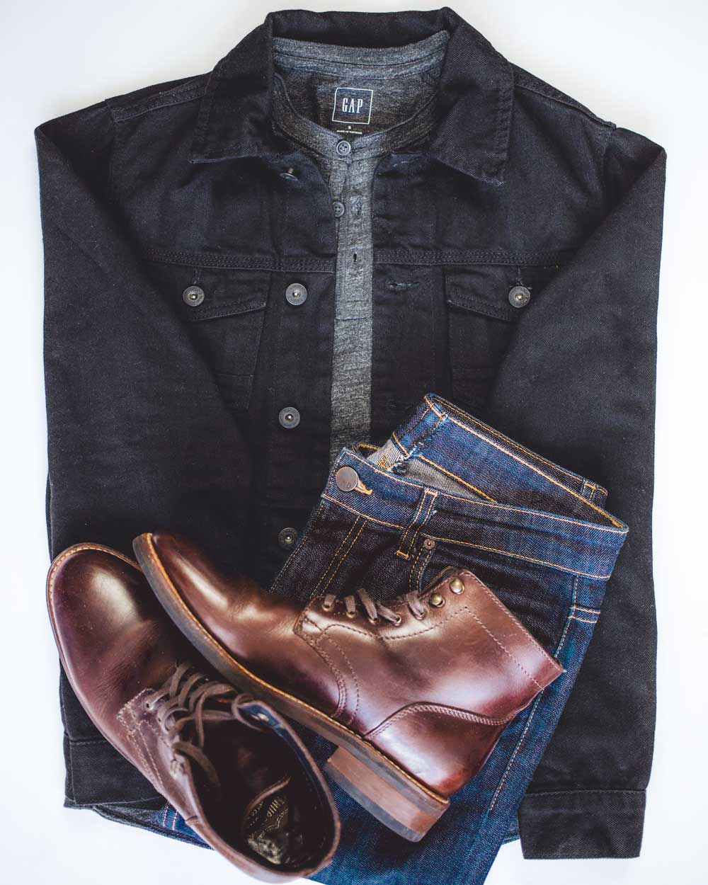 Thursday Boots Captain black denim jacket gray henley DSTLD jeans