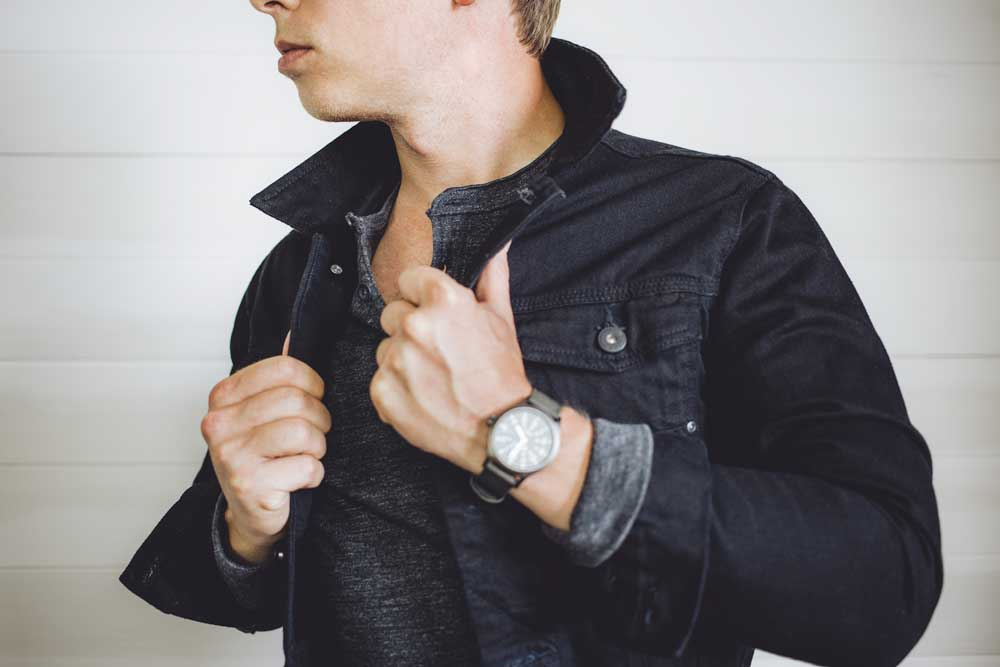 zara black denim jacket gray henley timex watch