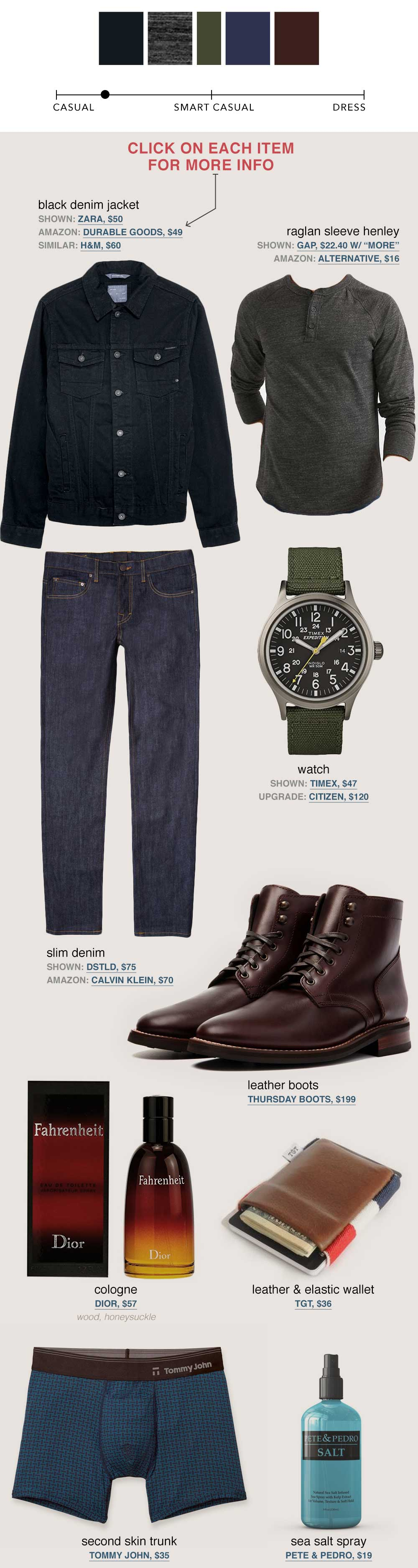 black denim jacket gray henley brown boots thursday boots dstld jeans   men's fall fashion outfit ideas