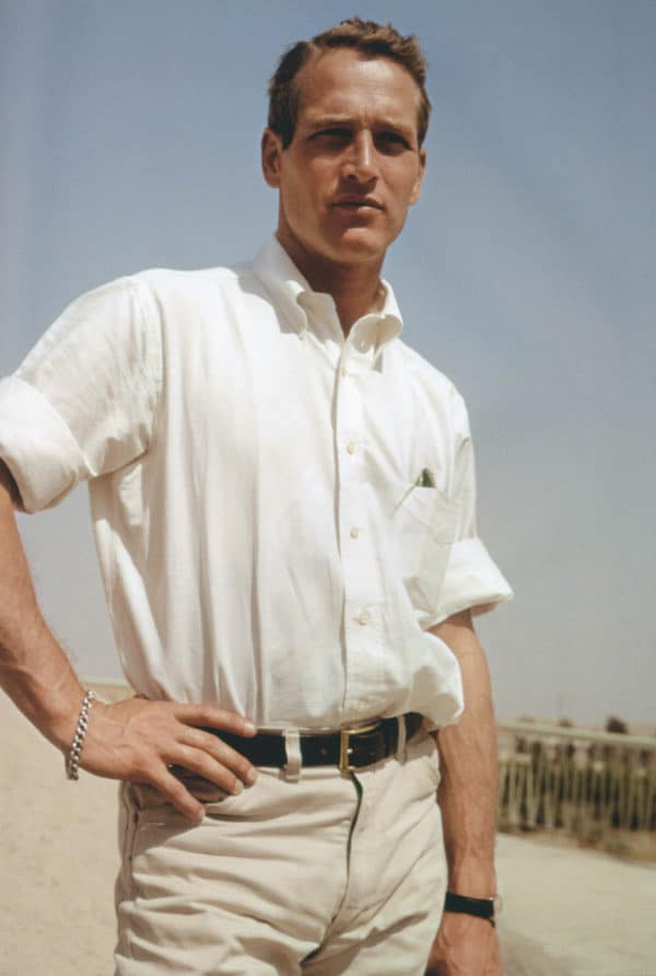 Paul Newman in a classic men's style white oxford shirt