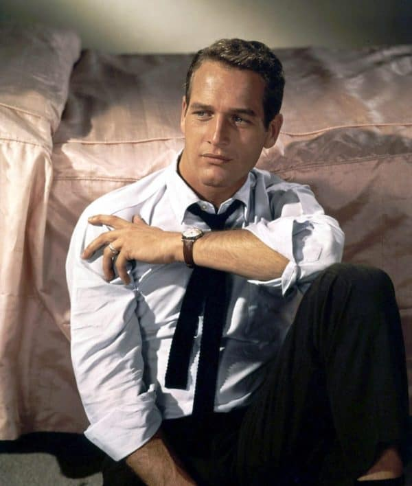 Paul Newman wearing a classic white Oxford shirt in one of his movie roles