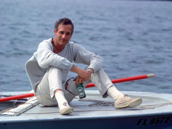 Vintage photo of Paul Newman's canvas sneakers
