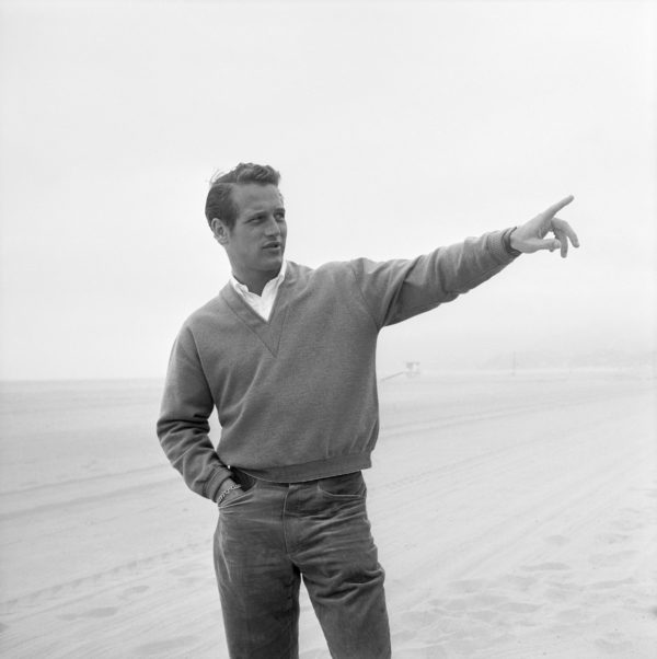 American actor Paul Newman, circa 1958 in a v neck sweatshirt
