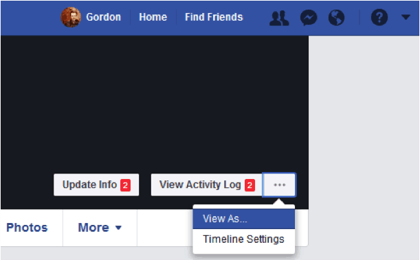"Image showing the facebook ""View As"" privacy feature"