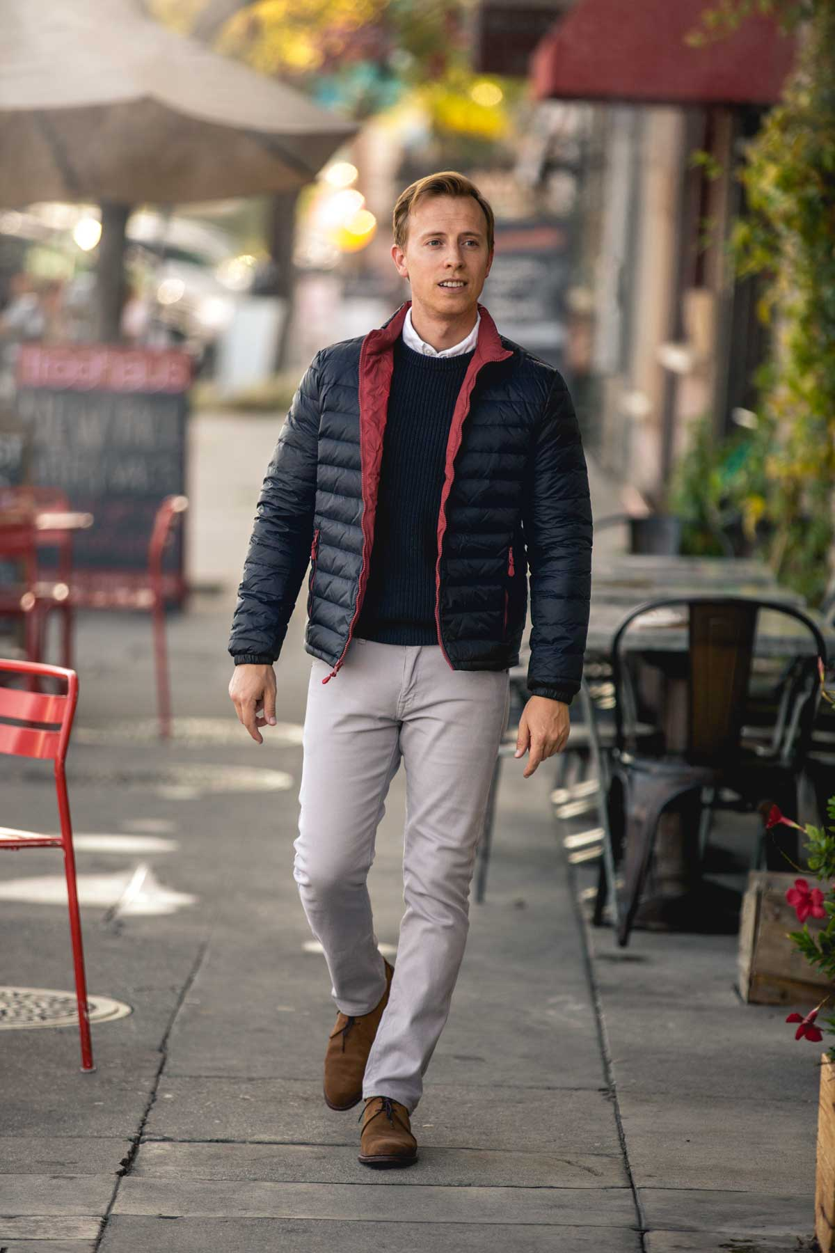 men fall fashion nylon packable jacket outfit ideas