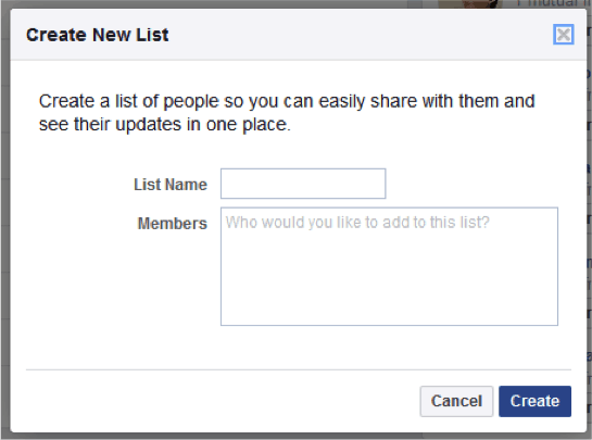 Image showing facebook list creation tool for privacy