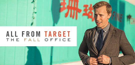 A man in a blazer in front of teal wall - All from Target