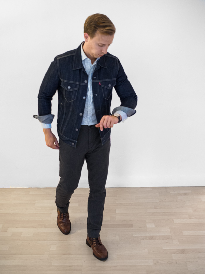 men casual outfit inspiration fashion denim jacket wingtip boots charcoal pants