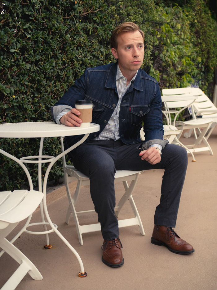 denim jacket with dress pants wingtip boots