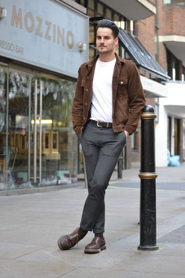 Image showing men's fashion with less pant break and contrasting loose jacket