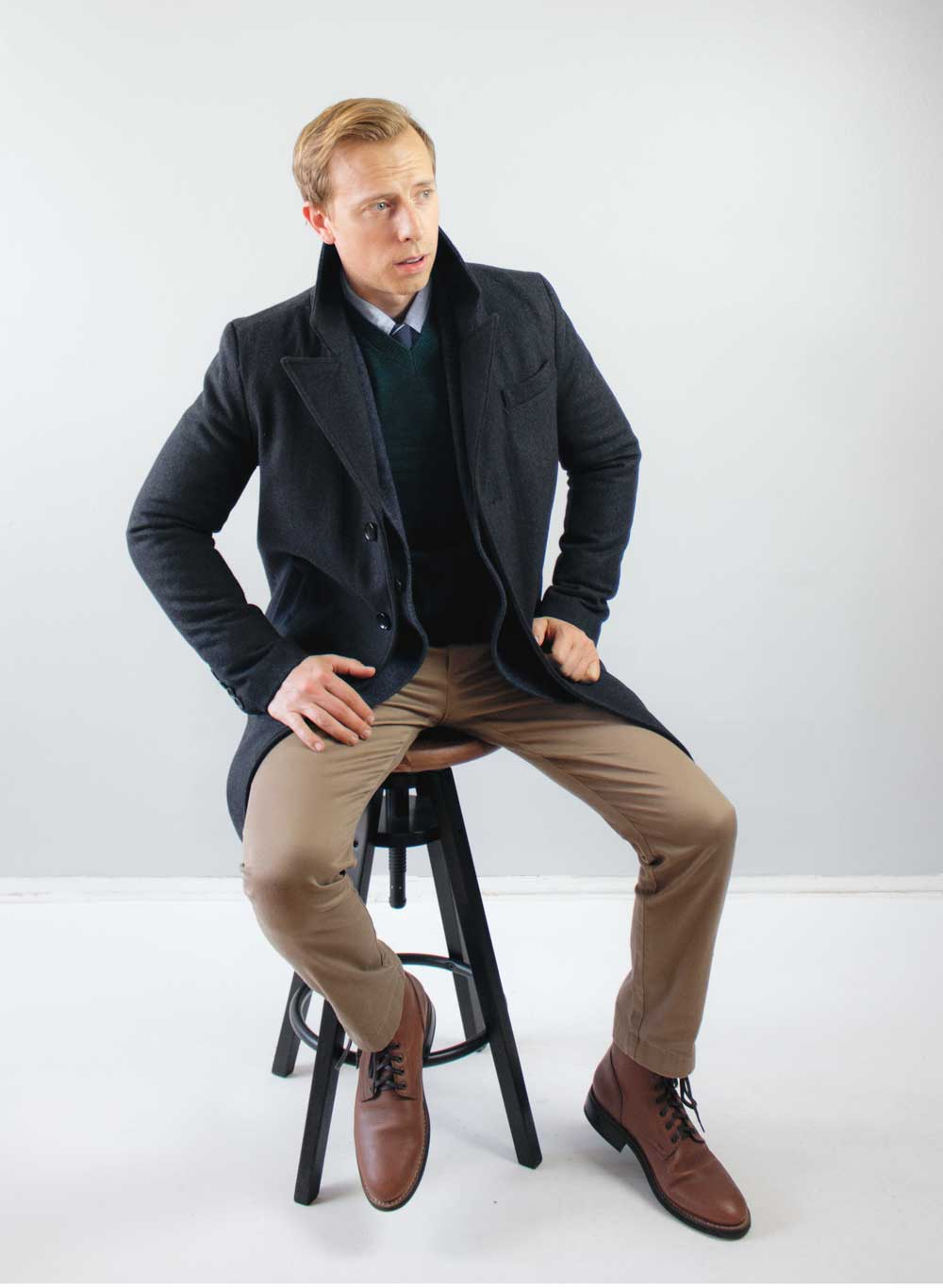 men business casual preppy pea coat vneck sweater khaki chinos brown boots