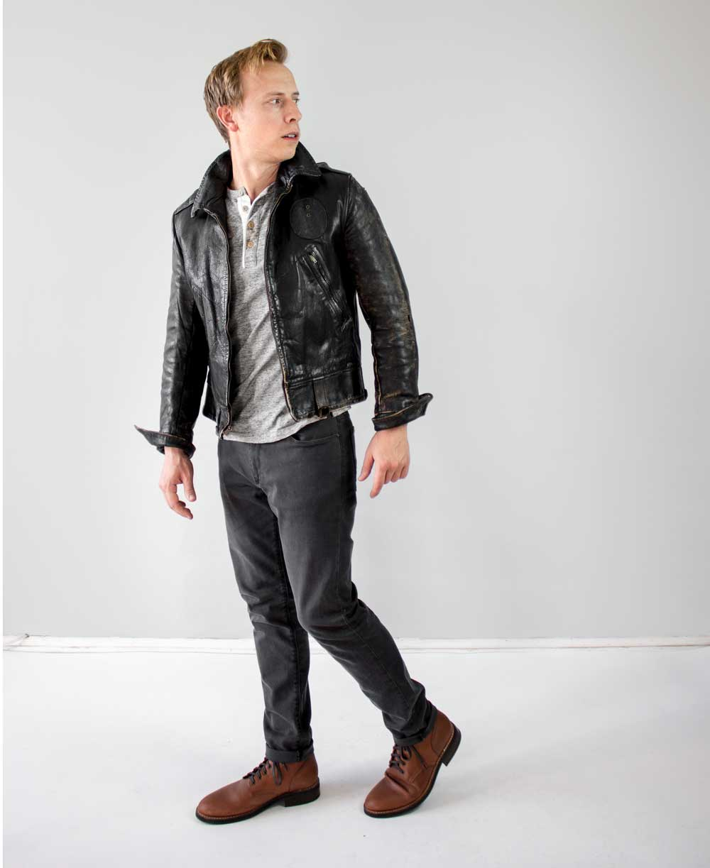 men casual outfit leather biker jacket henley gray jeans brown boots