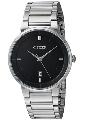 A close up of a citizen metal watch