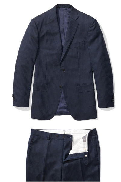 A navy suit jacket and pants