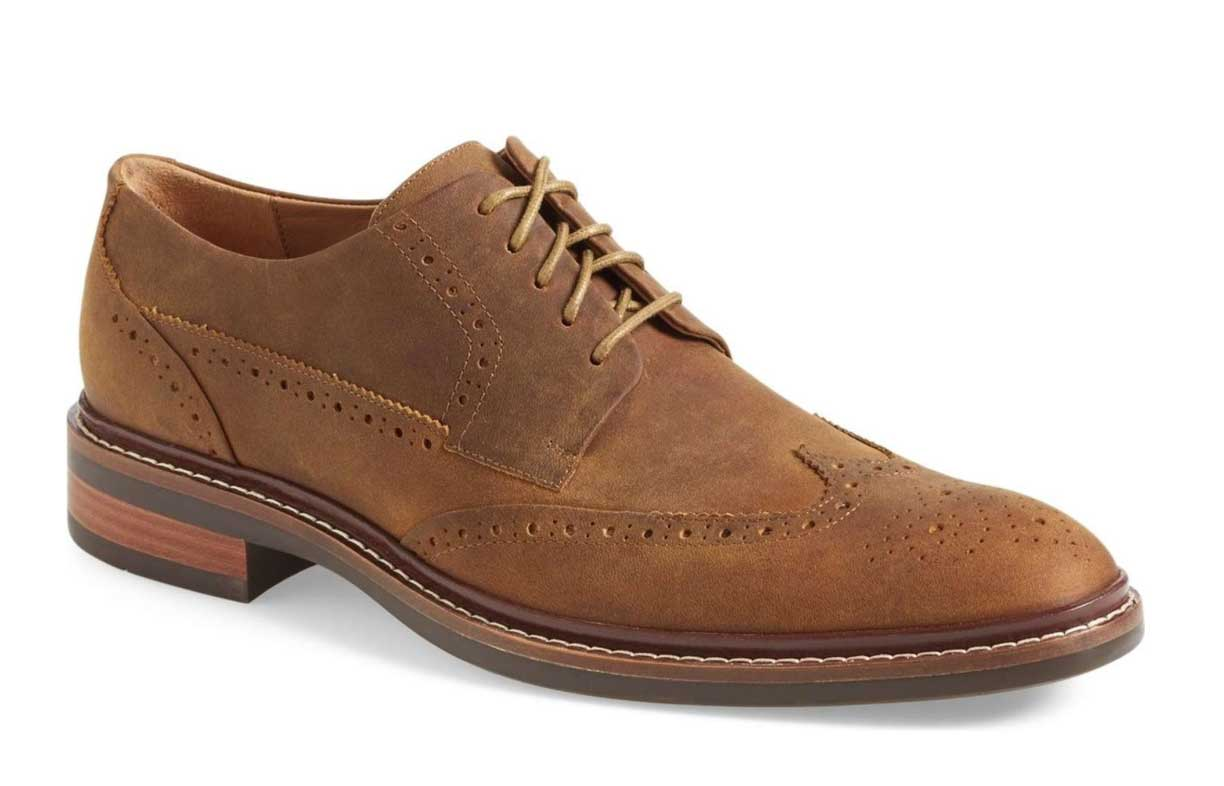 A pair of brown shoes