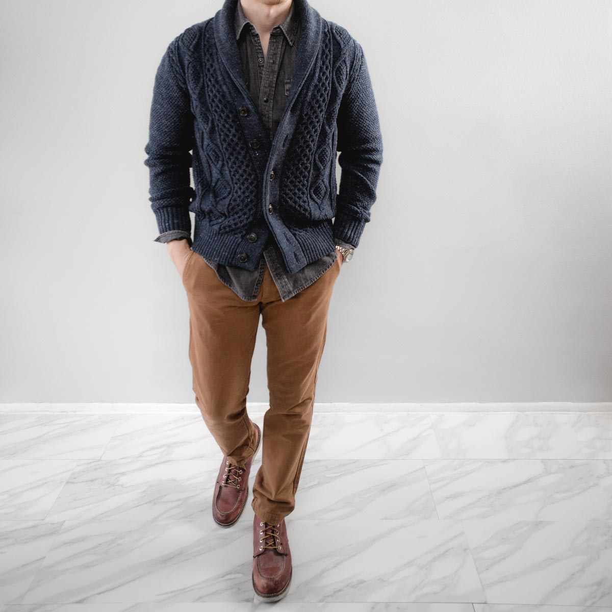 men shawl cardigan sweater denim shirt chinos red wing moc toe boots outfit ideas