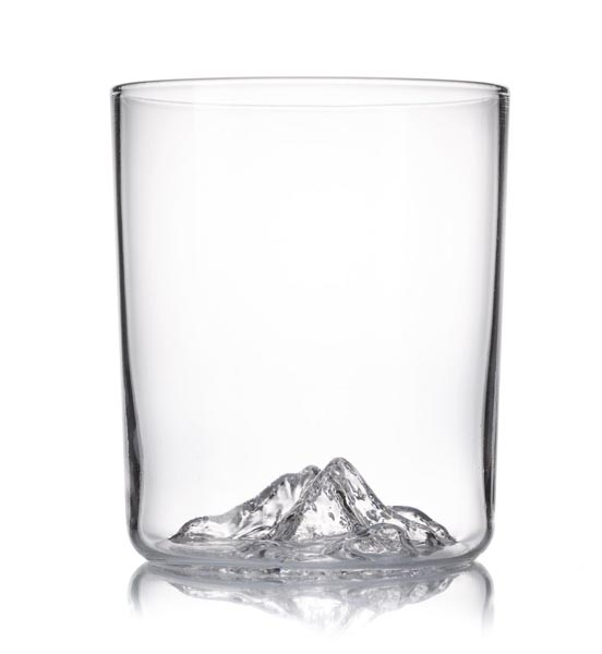Whiskey glass with a mountain peak