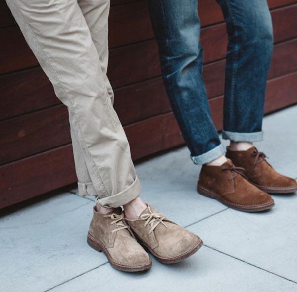 Two men wearing chukka boots