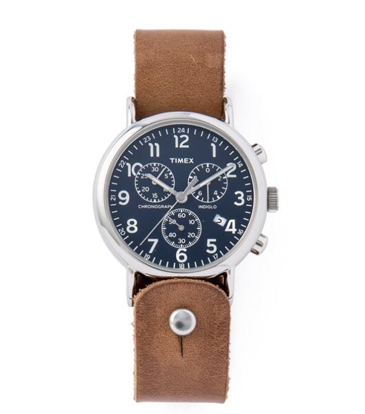 Watch with leather watch strap