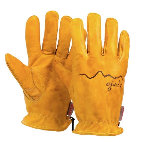 A pair of tan gloves