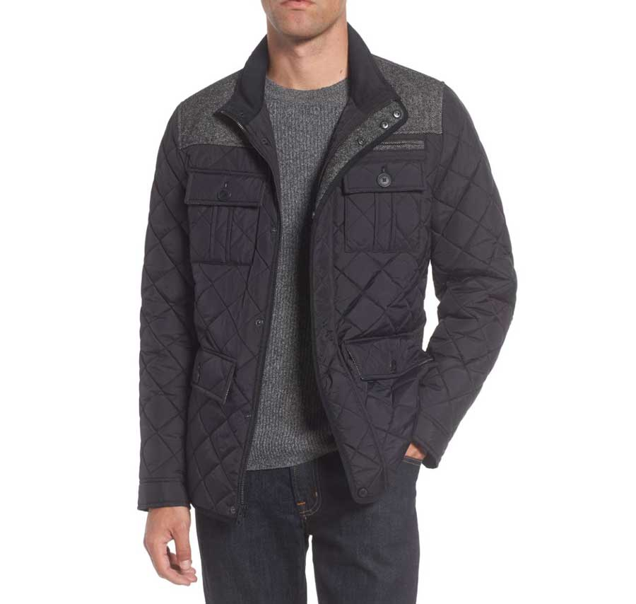 Man wearing a quilted jacket
